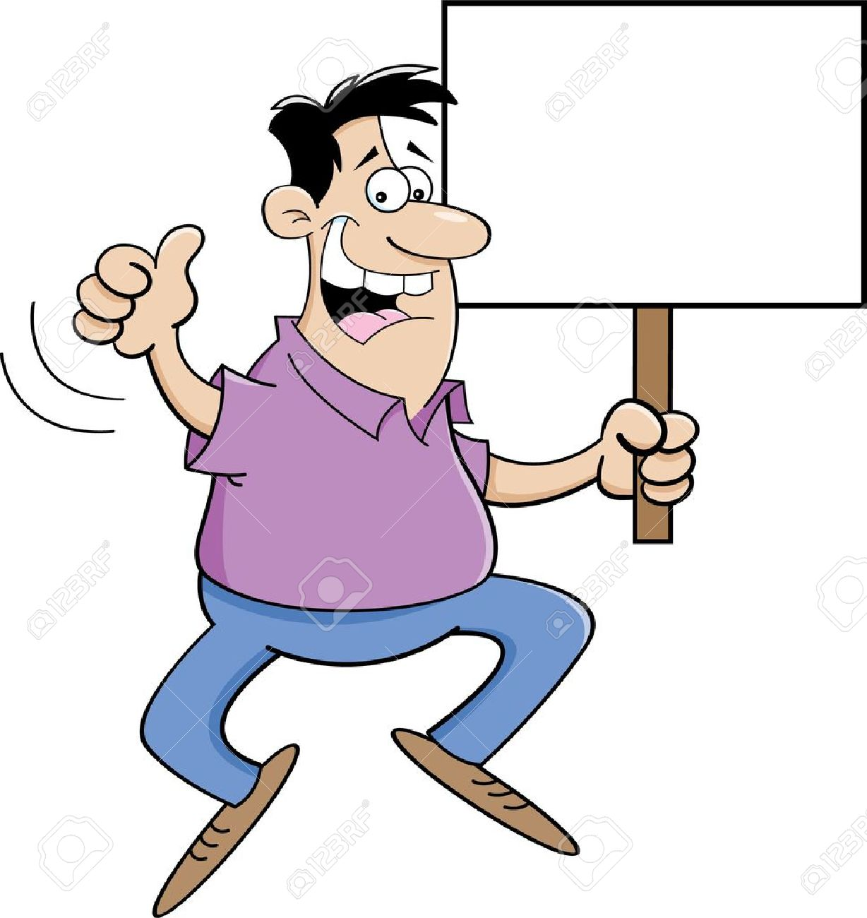 Cartoon Illustration Of A Man Jumping And Holding A Sign Royalty ...