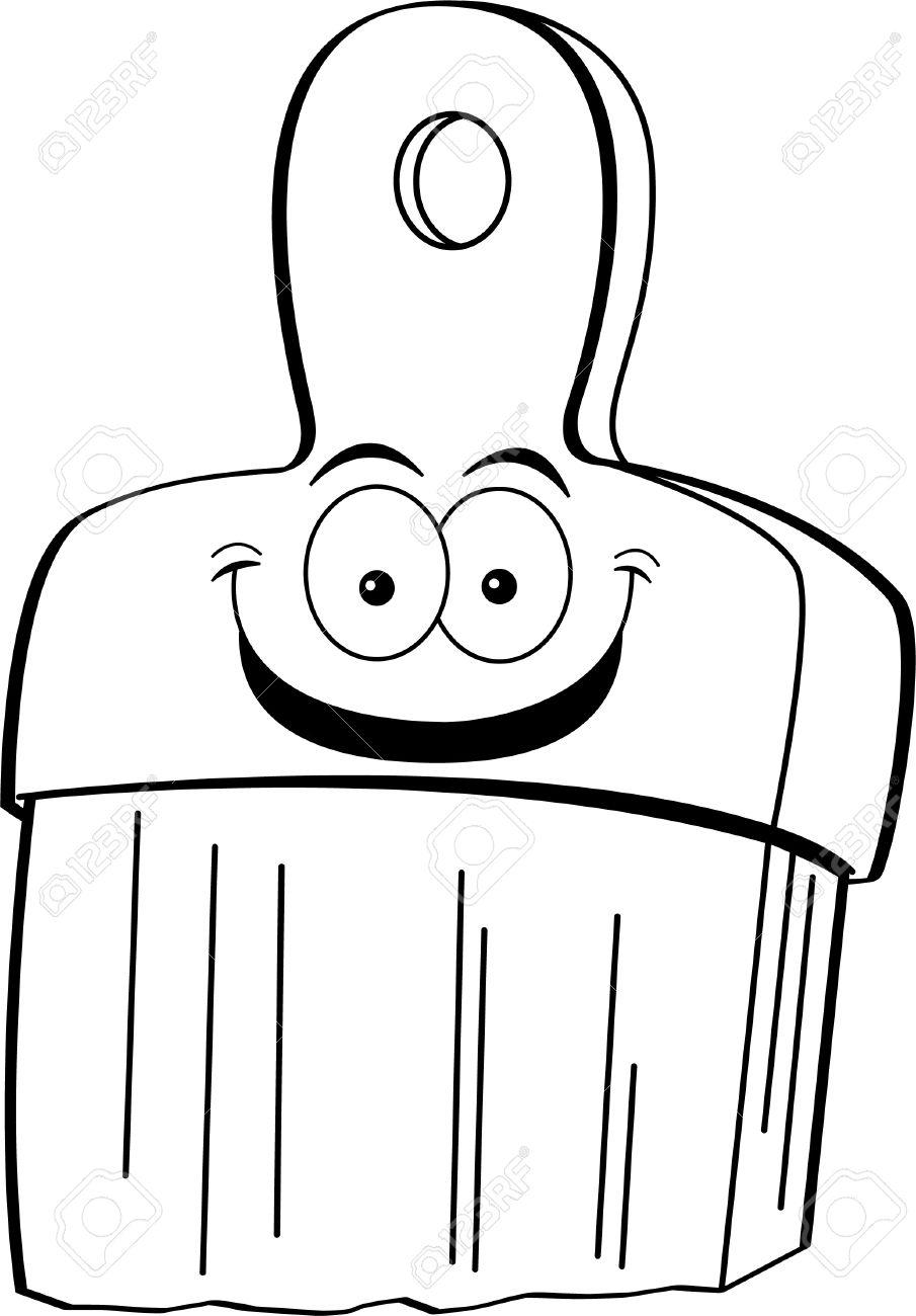 Pinsel clipart schwarz weiß  Schwarz-Weiß-Darstellung Eines Lächelnden Pinsel Lizenzfrei ...