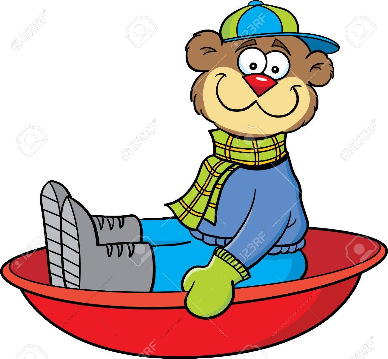Cartoon Illustration Of A Bear Sledding Royalty Free Cliparts ...