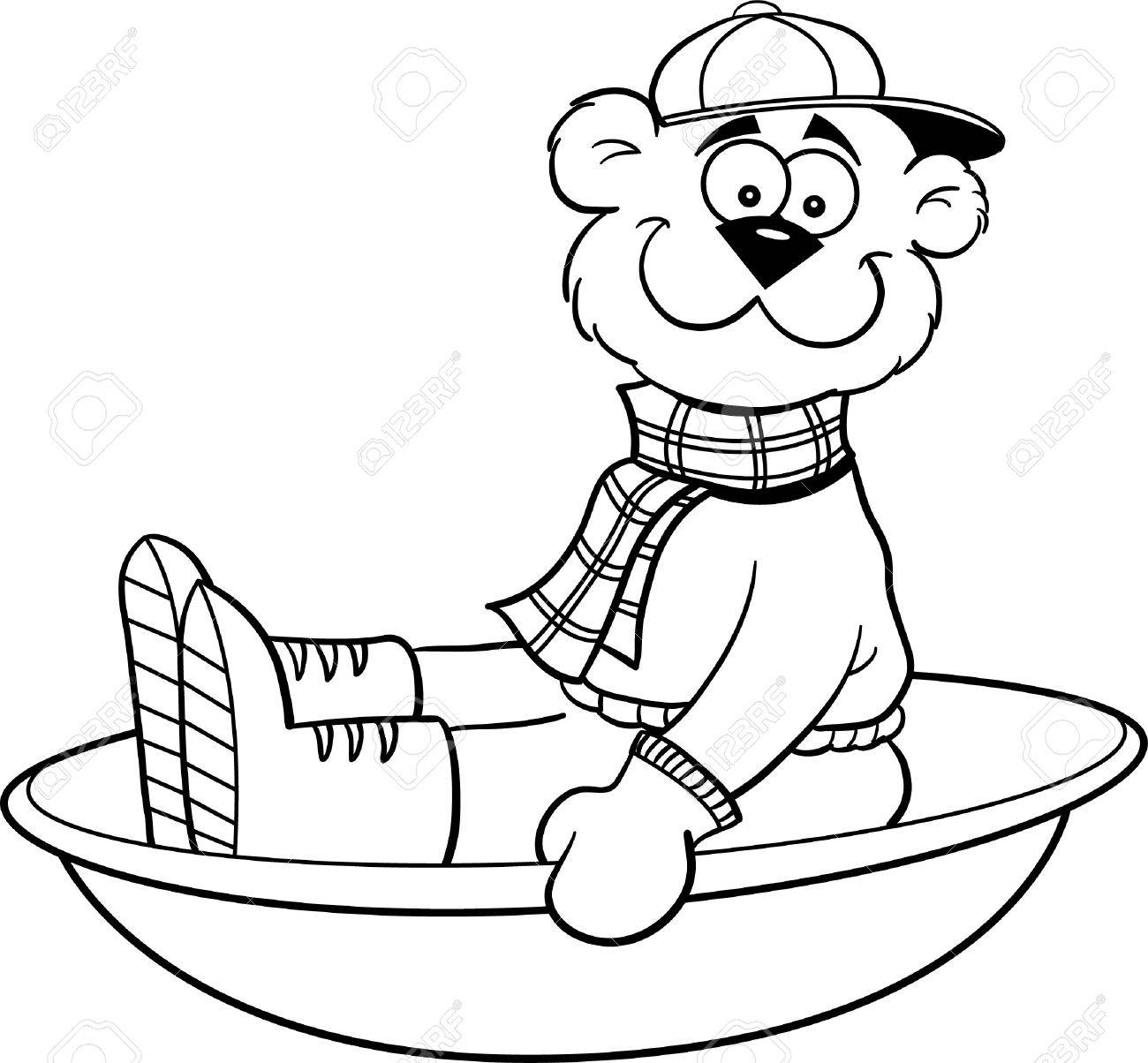 black and white illustration of a bear sledding royalty free