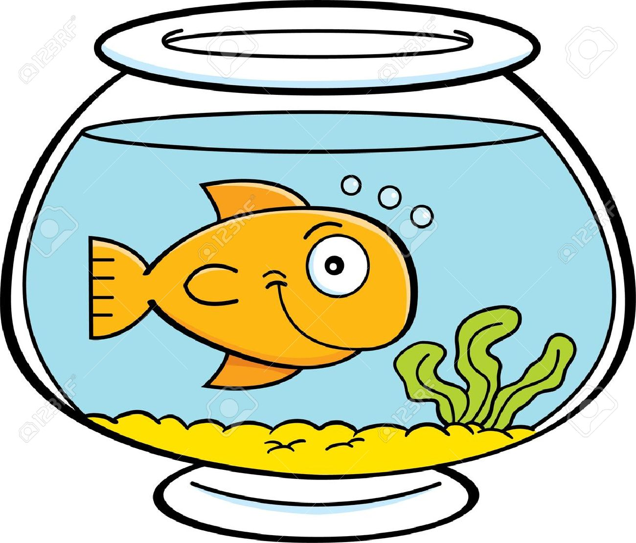 Fish tank clipart - Fish Bowl Cartoon Illustration Of A Fish In A Fish Bowl
