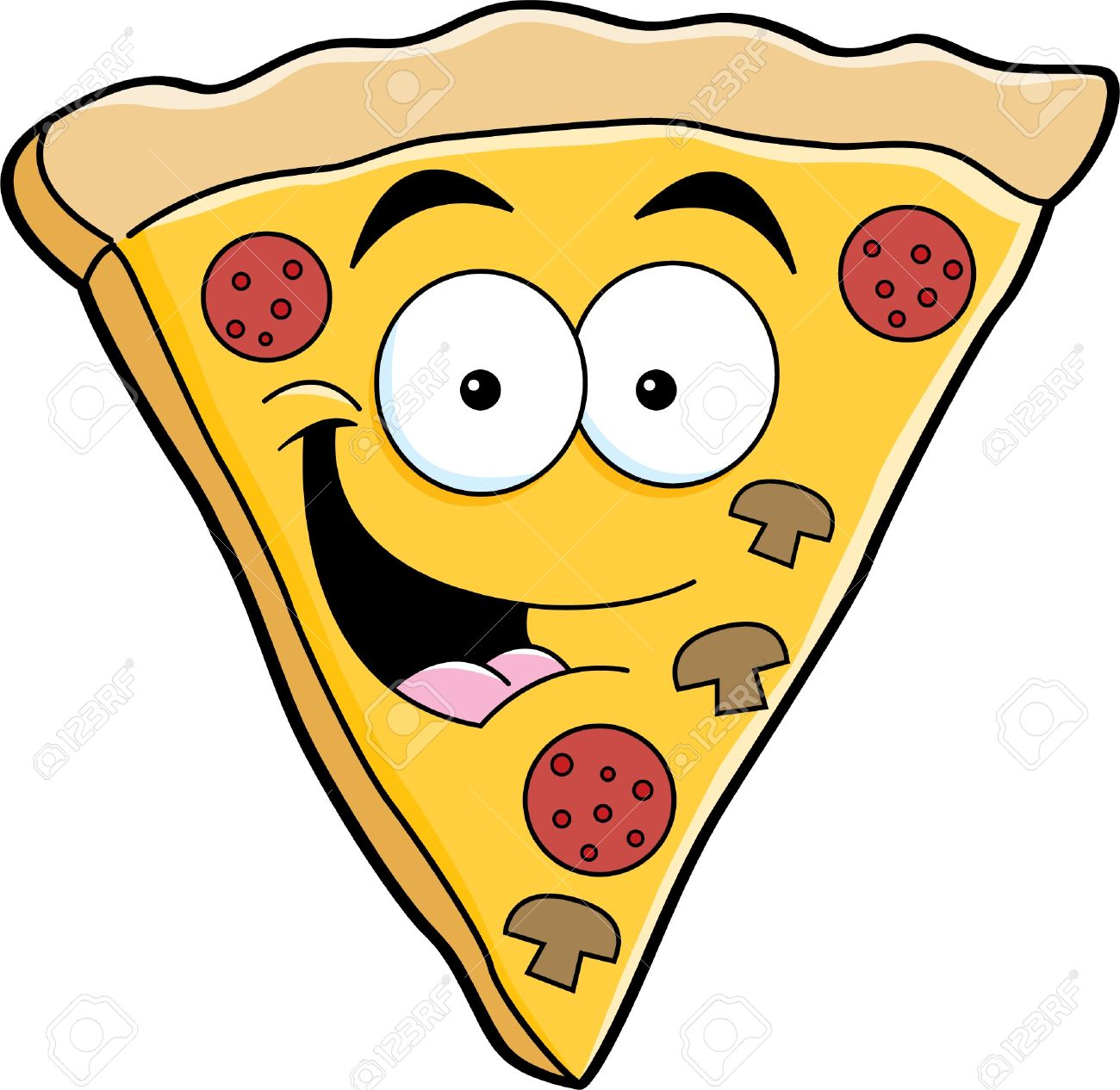 Clipart of a Smiling Pizza Slice Character - Royalty Free Vector ...