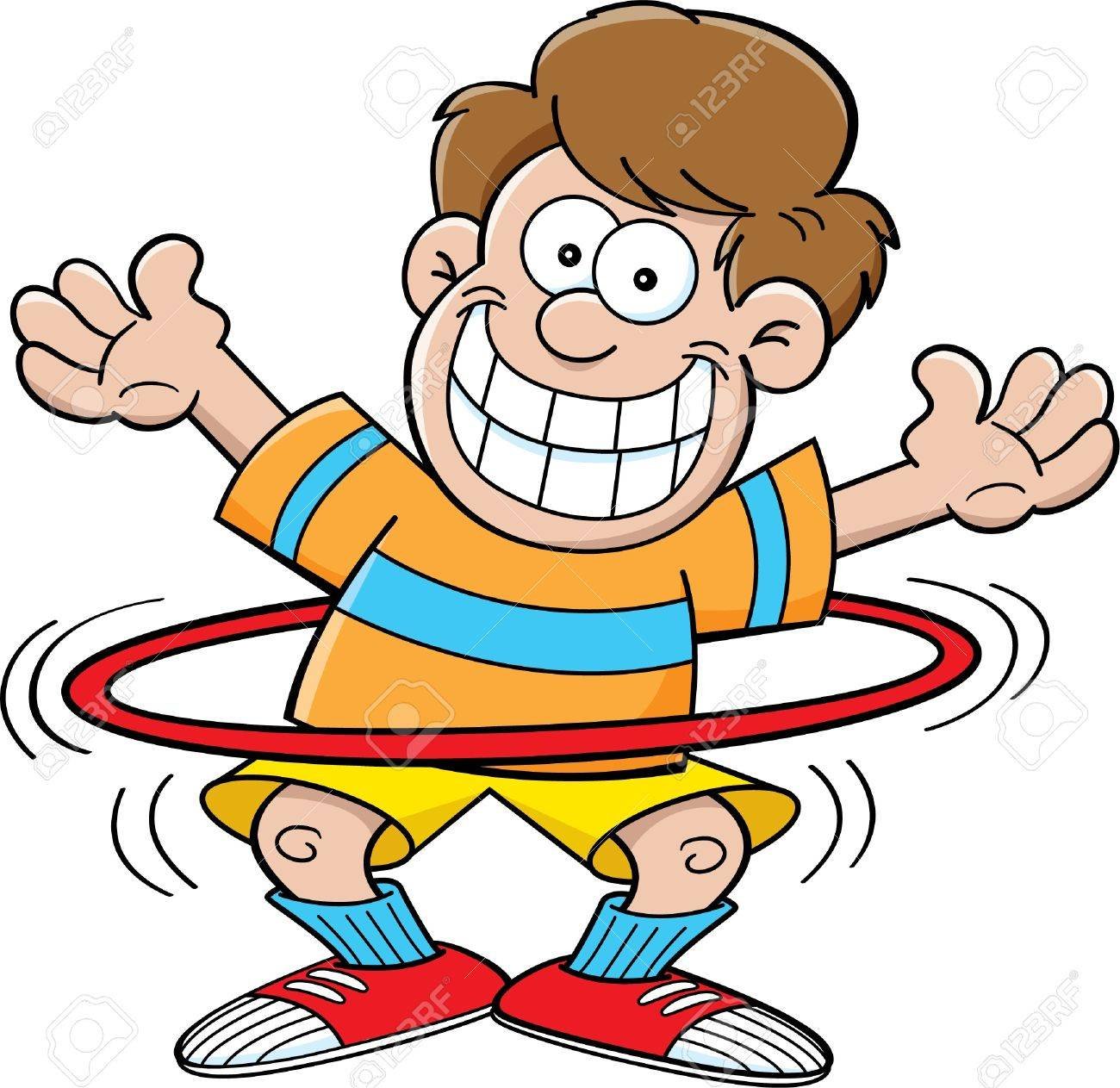 cartoon illustration of a boy playing with a hula hoop royalty free rh 123rf com hula hoop clipart black and white hula hoop pictures clip art