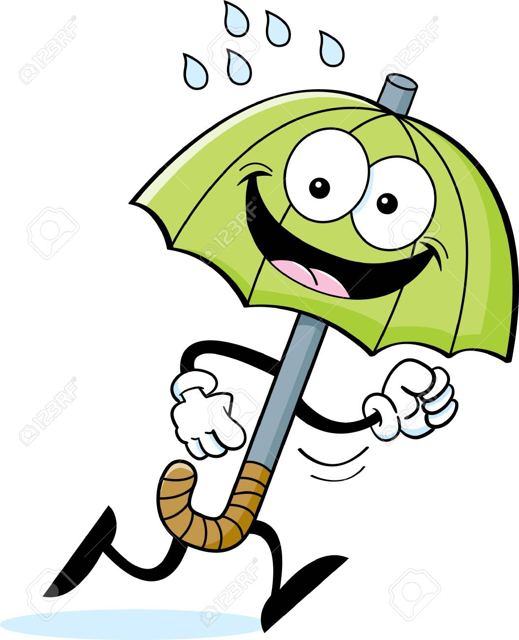 Cartoon illustration of an umbrella running Stock Vector - 18130489