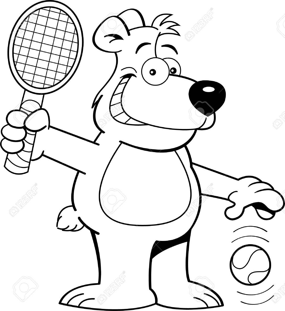 black and white illustration of a bear playing tennis royalty free