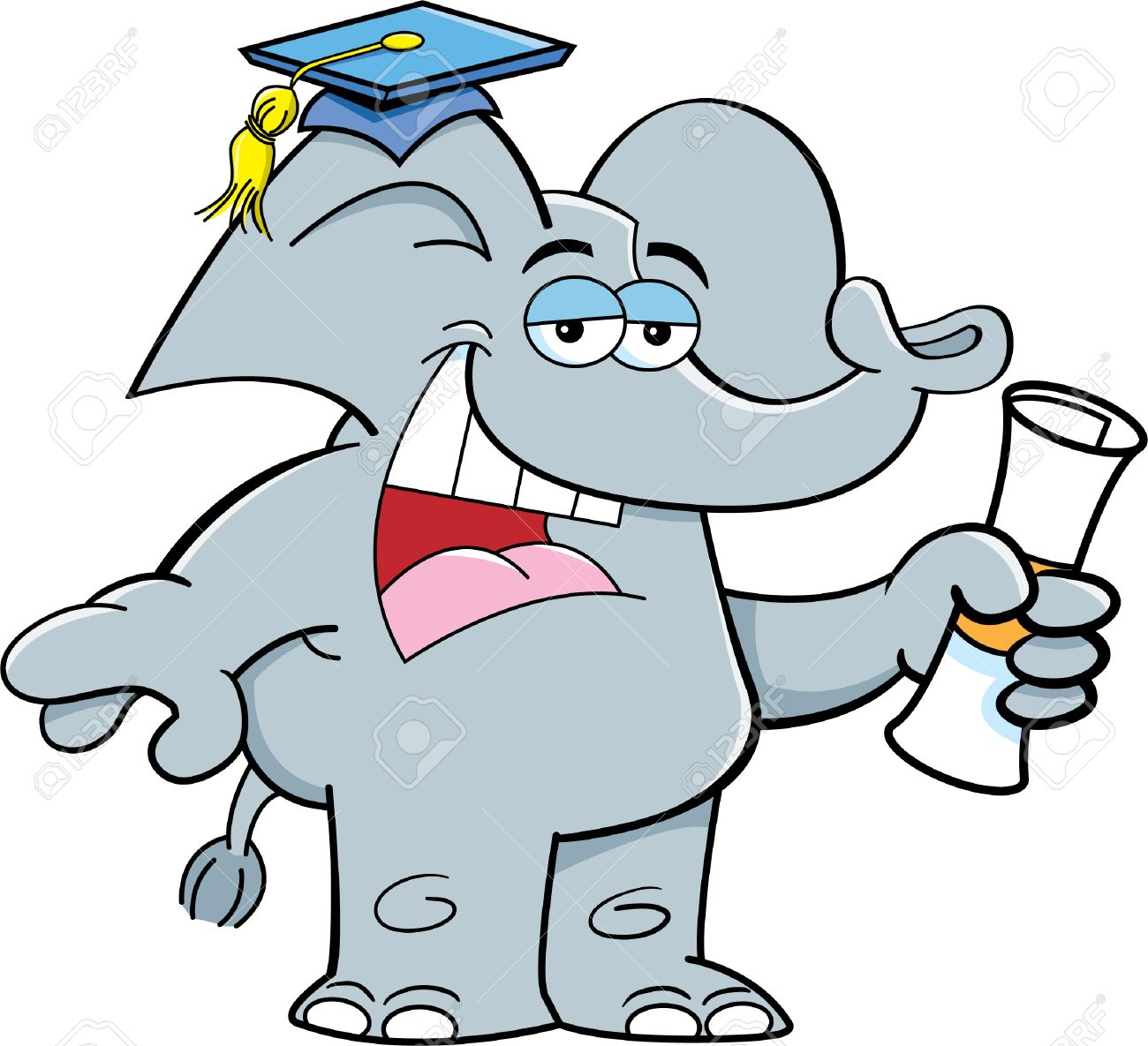 Cartoon illustration of an elephant holding a diploma Stock Vector - 18377517
