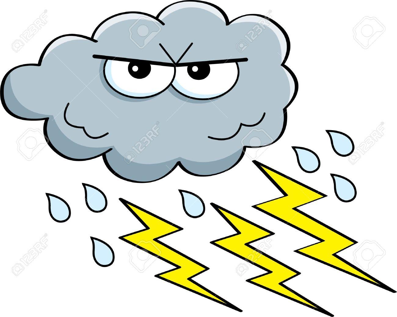 雨と雷の嵐雲の漫画イラストのイラスト素材ベクタ Image 18834621