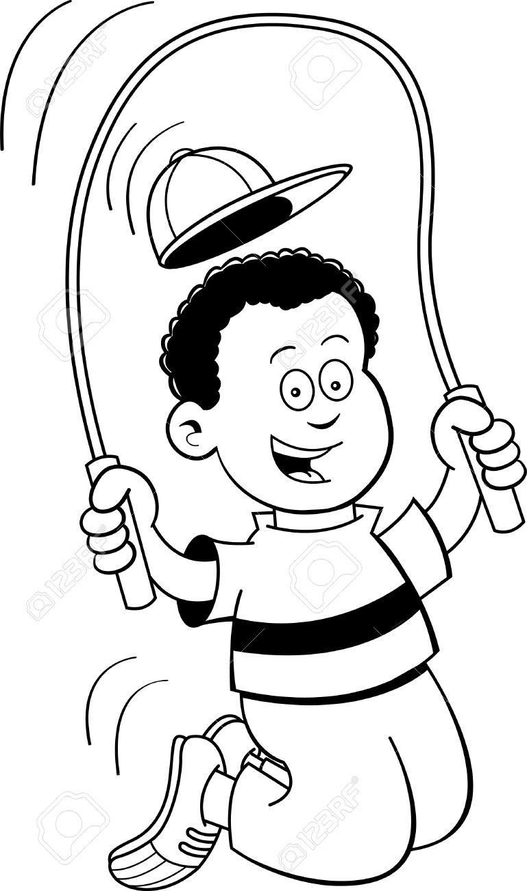 Ilustracion En Blanco Y Negro De Una Cuerda De Saltar Nino