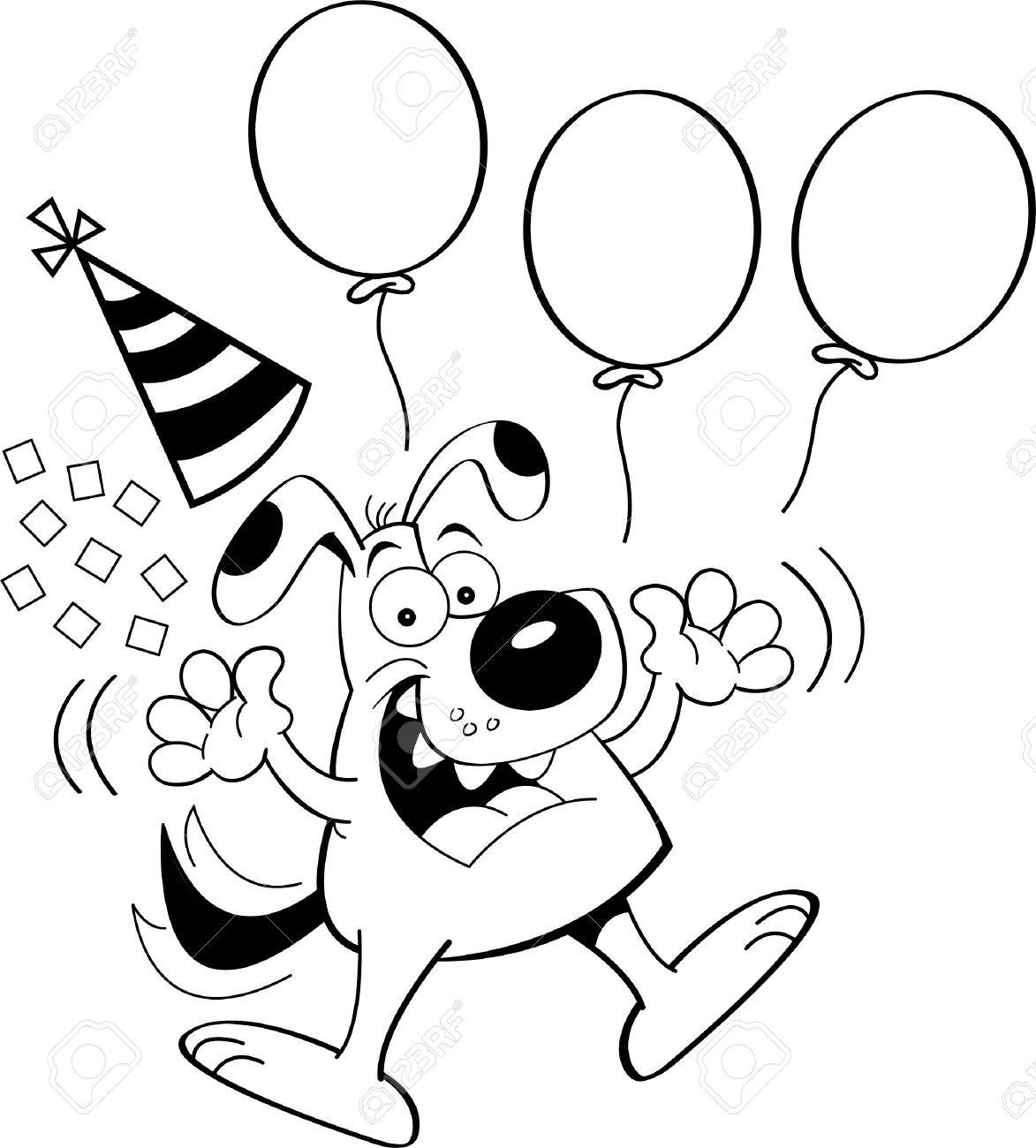 Black And White Illustration Of A Dog Jumping With Balloons And Royalty Free Cliparts Vectors And Stock Illustration Image 19254878