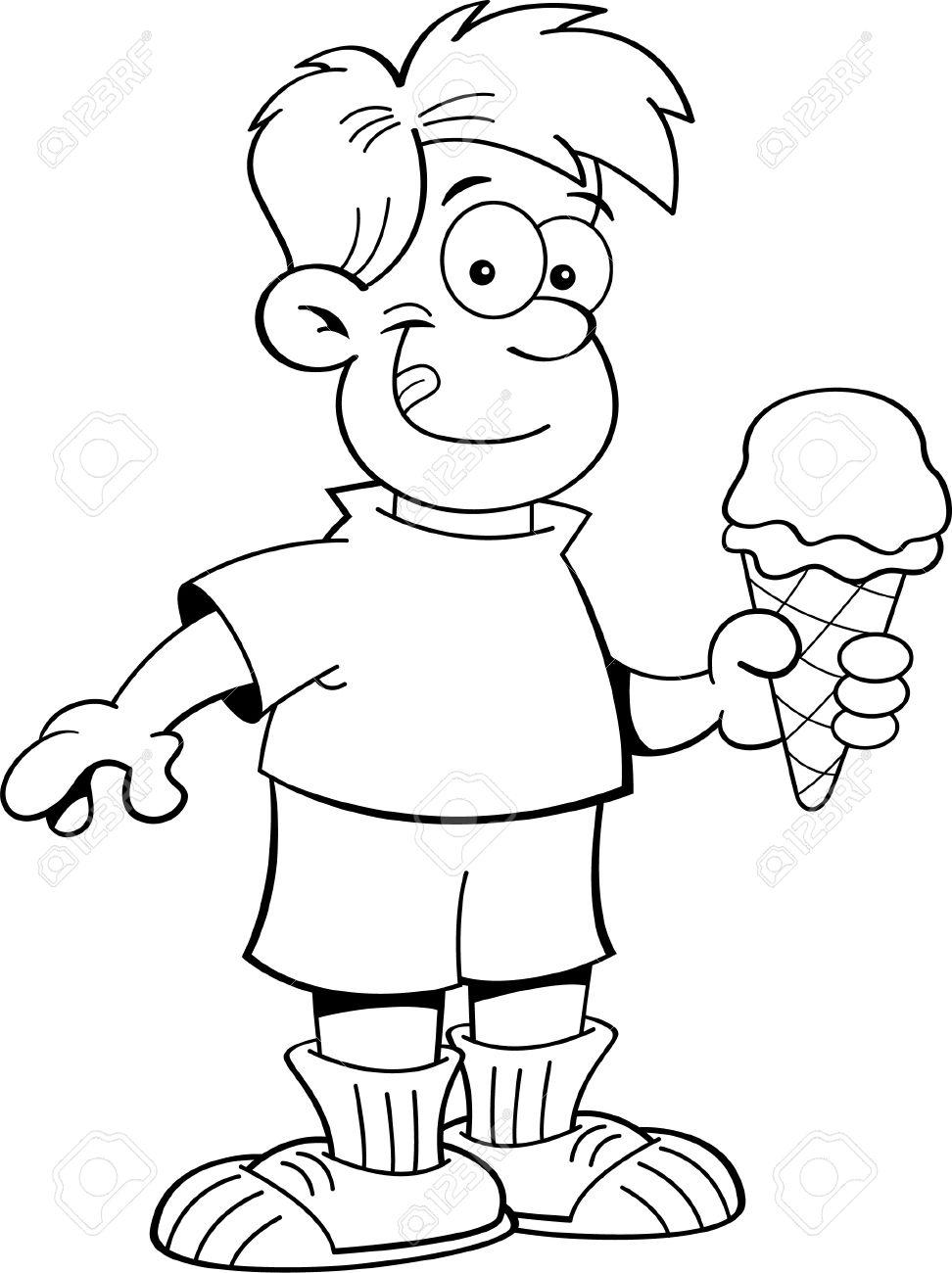 Ilustración En Blanco Y Negro De Un Niño Comiendo Un Helado ...