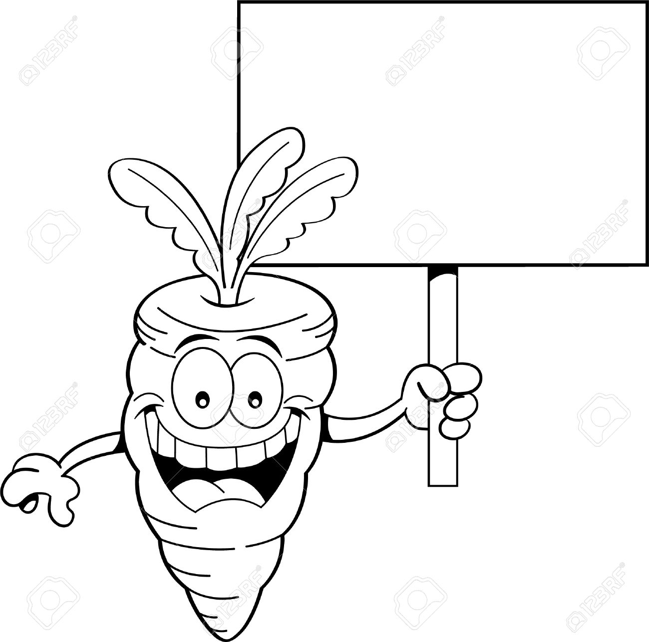 black and white illustration of a smiling carrot holding a sign