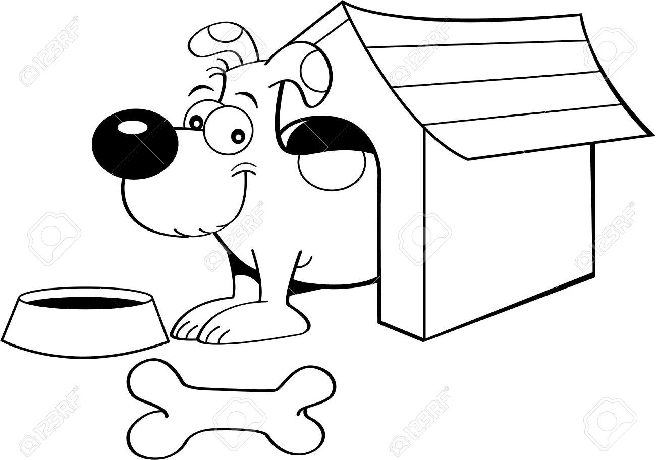Schwarz-Weiß-Darstellung Von Einem Hund In Einer Hundehütte ...