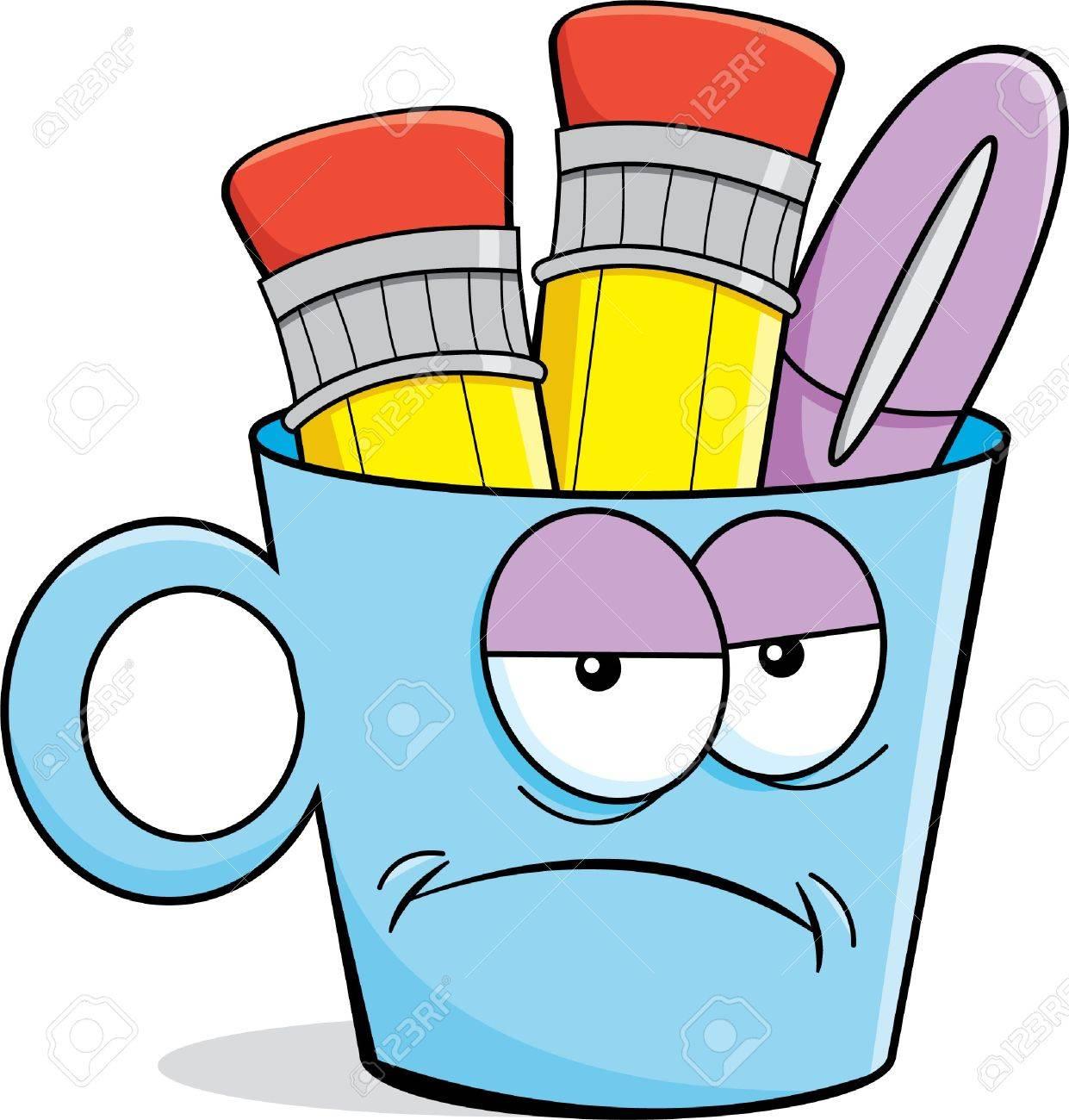 Büromaterial clipart  Cartoon Illustration Eines Unglücklich Tasse Holding Bleistifte ...