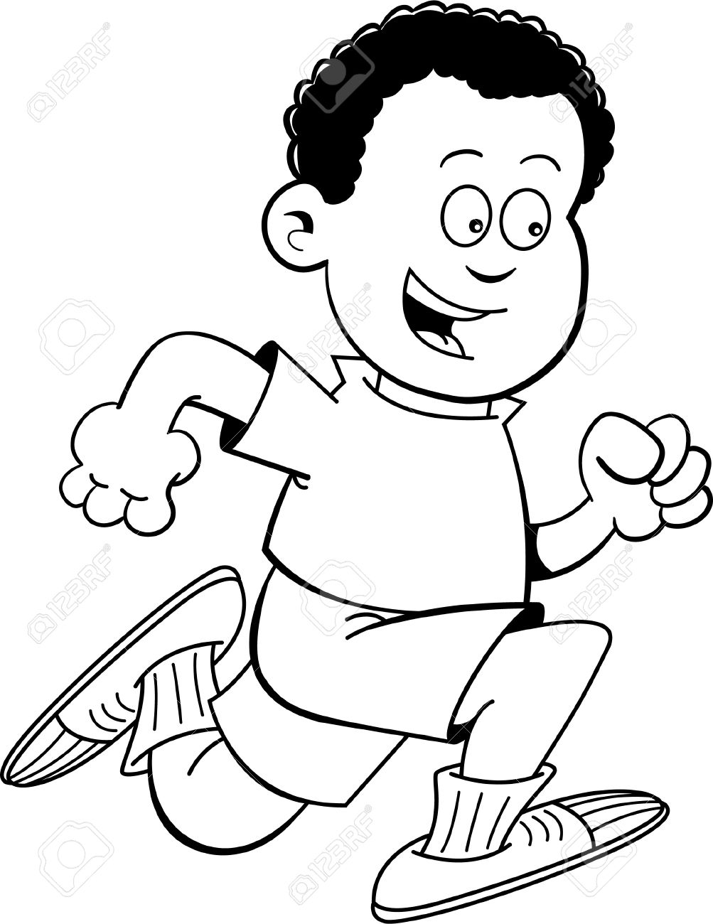 Black and white illustration of an african boy running stock vector 20778891
