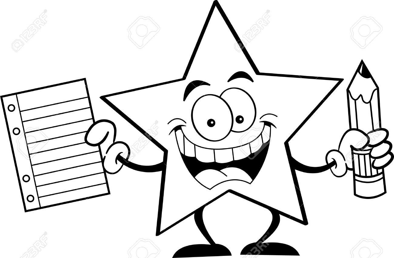 black and white illustration of a star holding a pencil and paper