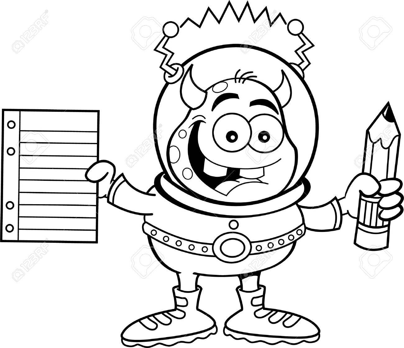 black and white illustration of a alien holding a paper and pencil