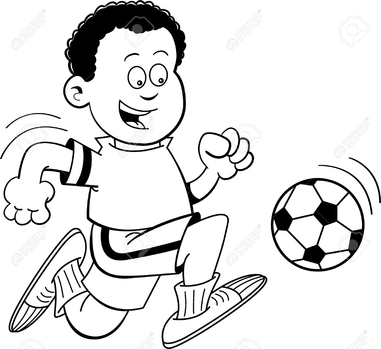 black and white illustration of an african boy playing soccer