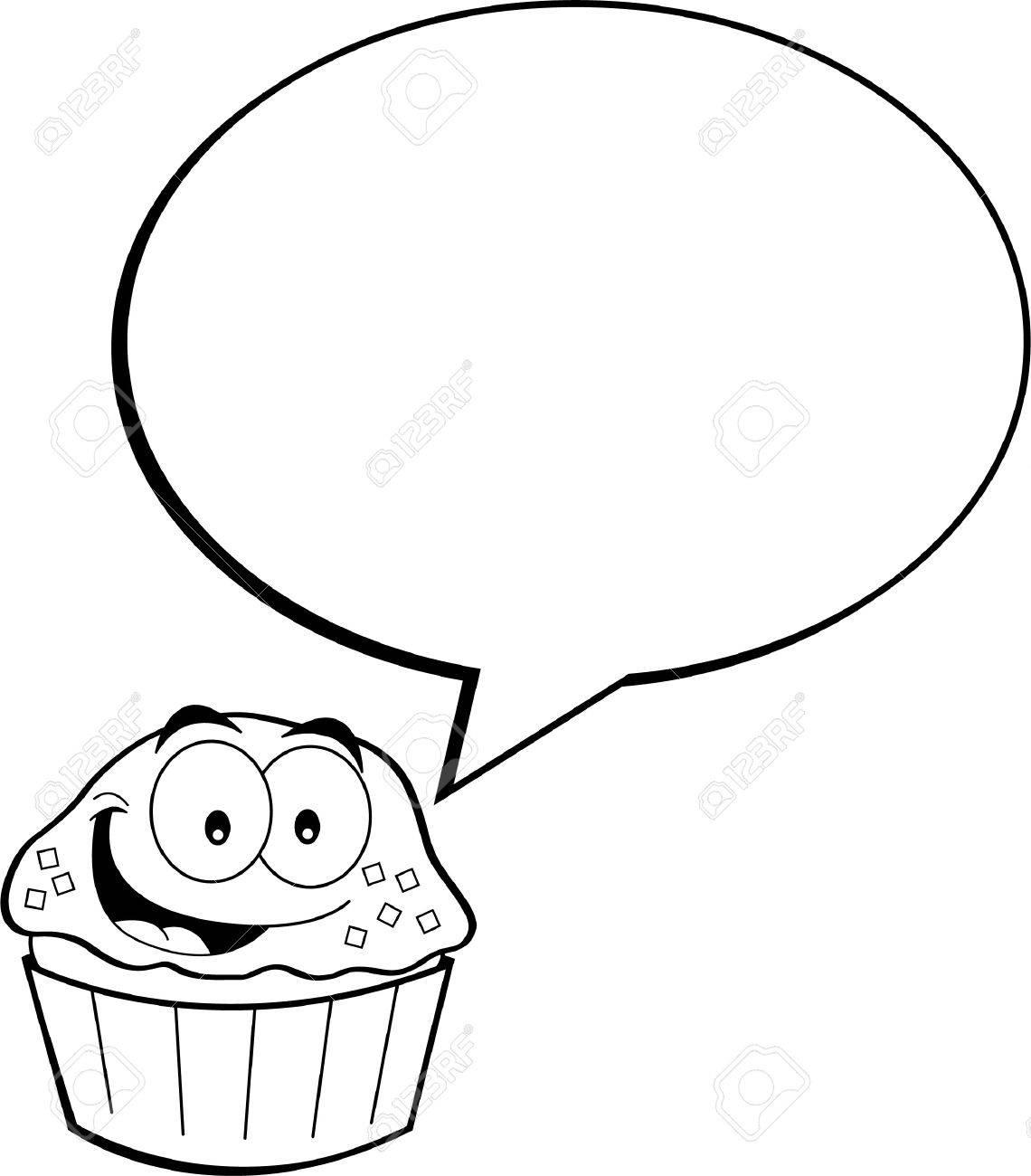 Schwarz Weiss Darstellung Von Einem Kleinen Kuchen Mit Einer