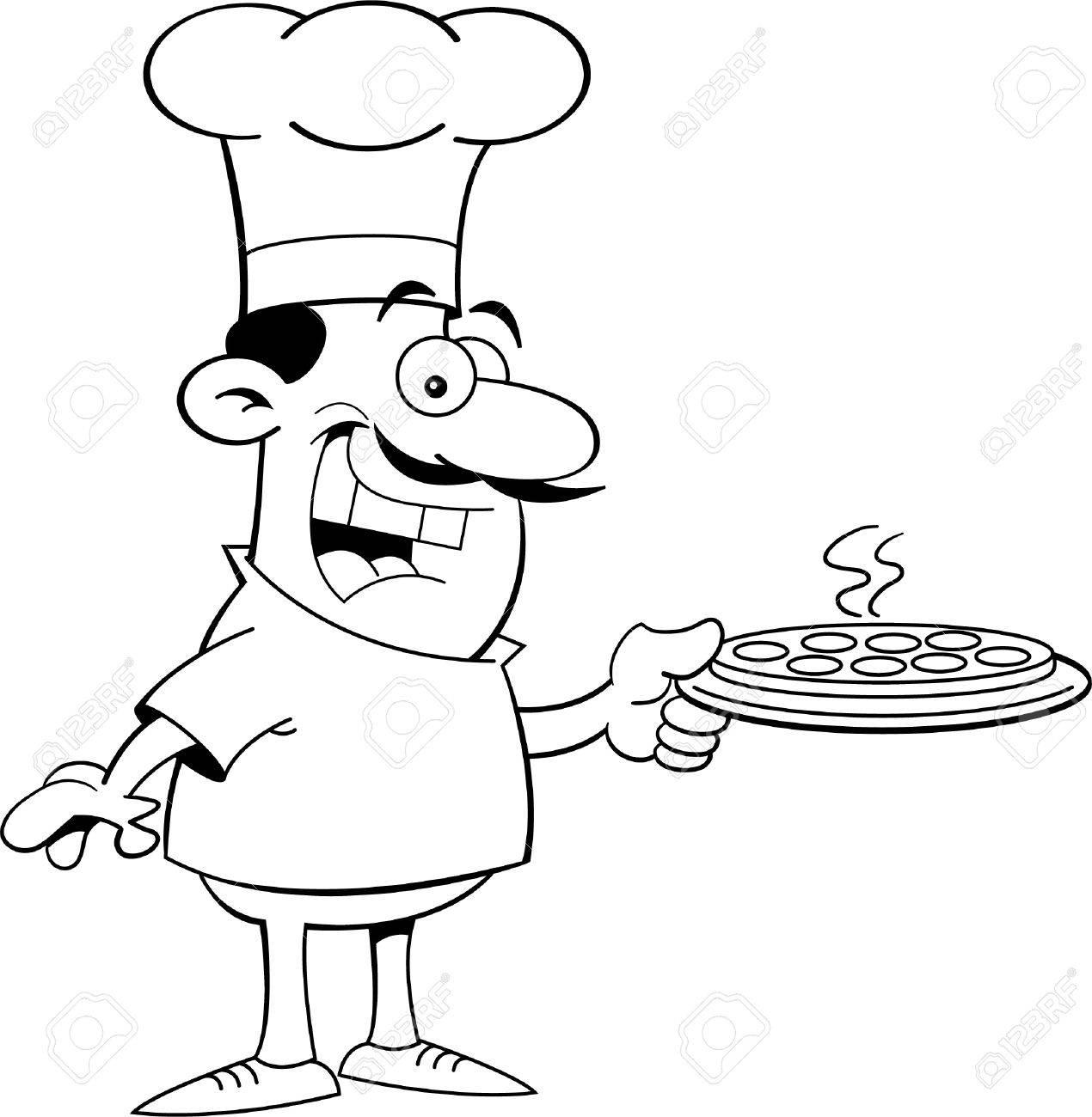Schwarz Weiß Darstellung Von Einem Koch Hält Eine Pizza Lizenzfrei