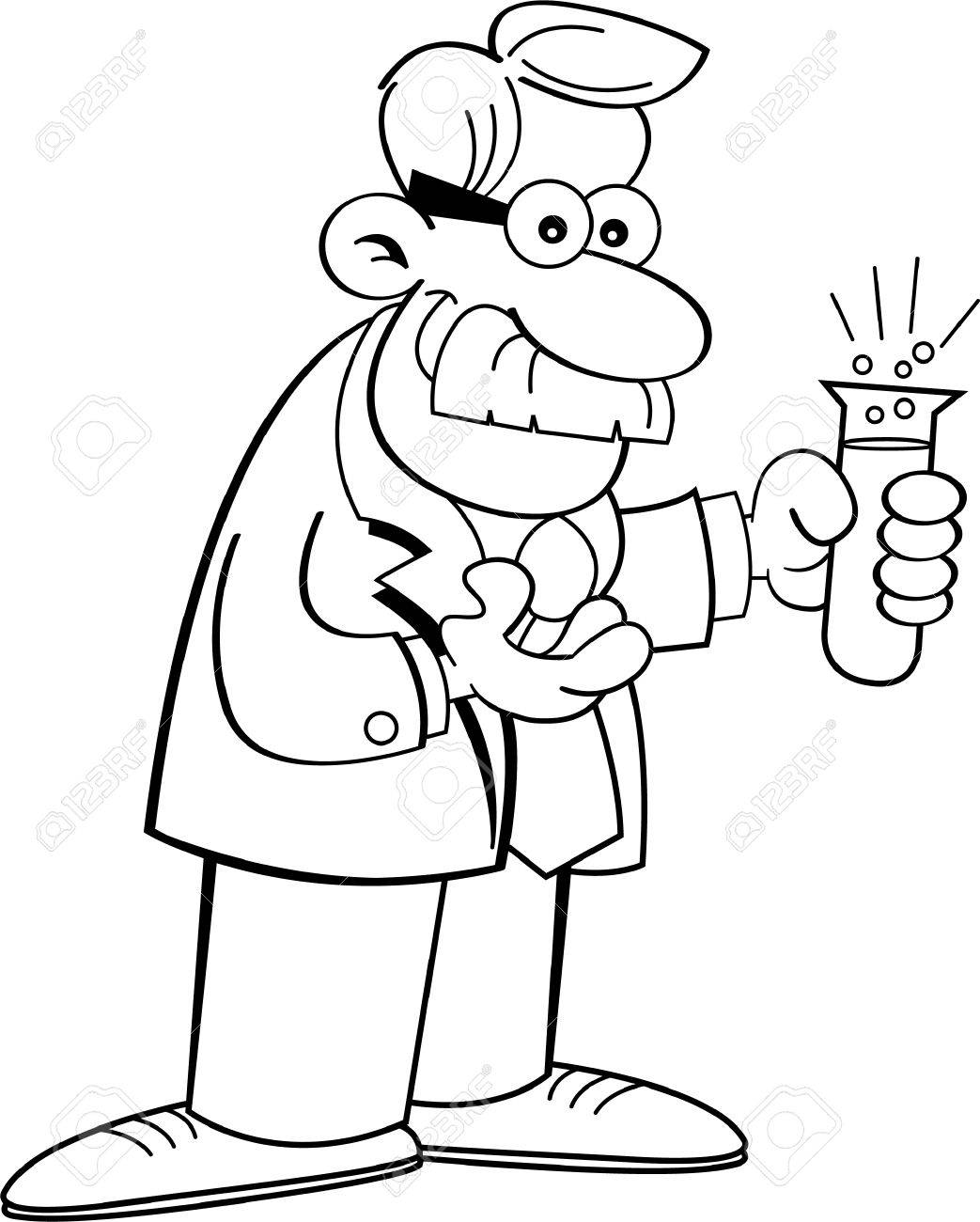 black and white illustration of a scientist holding a test tube royalty free cliparts vectors and stock illustration image 22873215 black and white illustration of a scientist holding a test tube