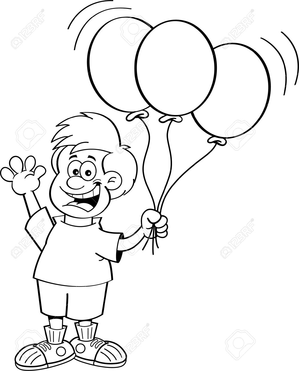 Black And White Illustration Of A Boy Holding Balloons Royalty Free