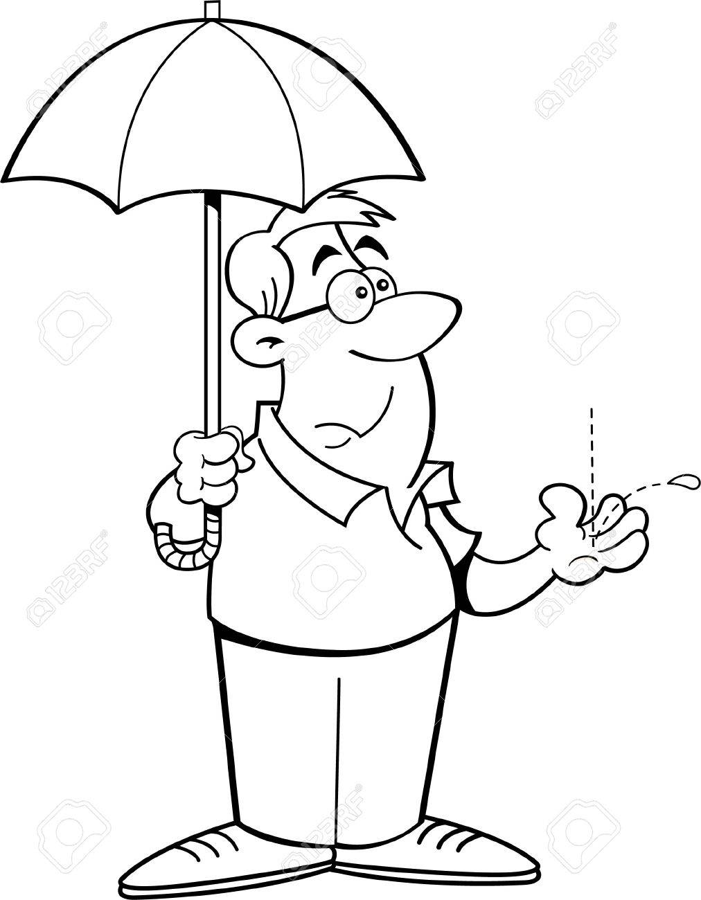 Black And White Illustration Of A Man Holding An Umbrella Royalty
