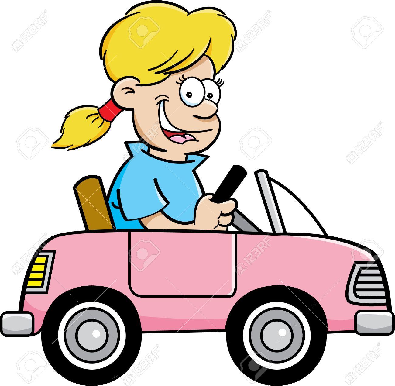 Volant Illustration Au Fille Dessinée De Jouet D'une Jeune Voiture Bande j4L5AR