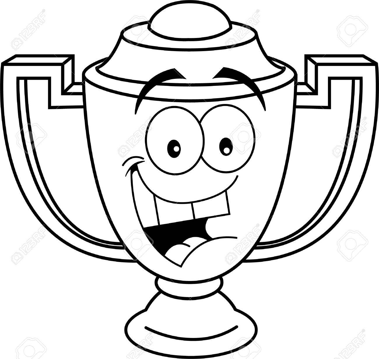 Black And White Illustration Of A Smiling Trophy Cup Stock Vector