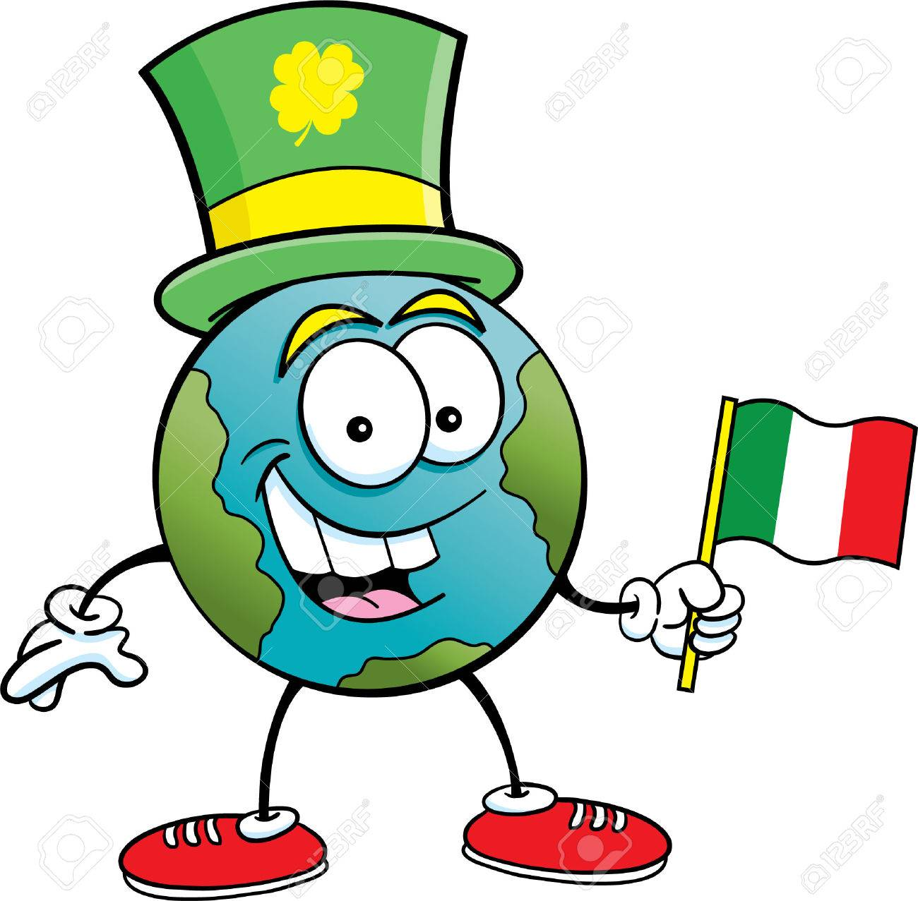 cartoon illustration of the earth holding an irish flag and