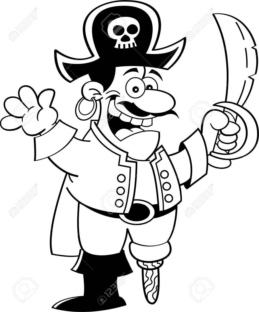 black and white illustration of a pirate holding a sword and