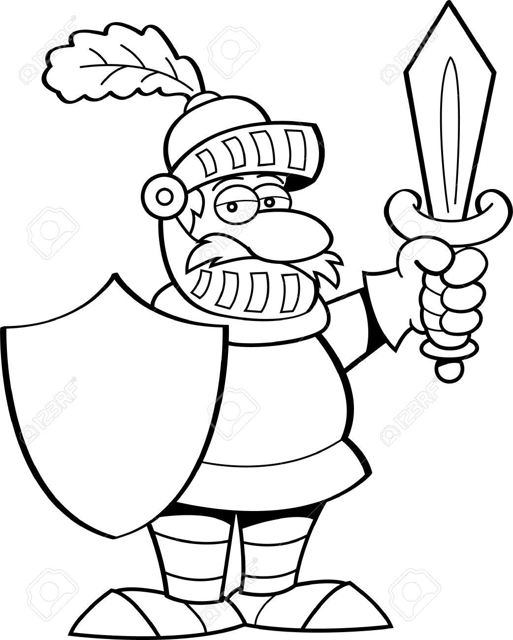 Ilustración En Blanco Y Negro De Un Caballero Armado Con Una Espada ...