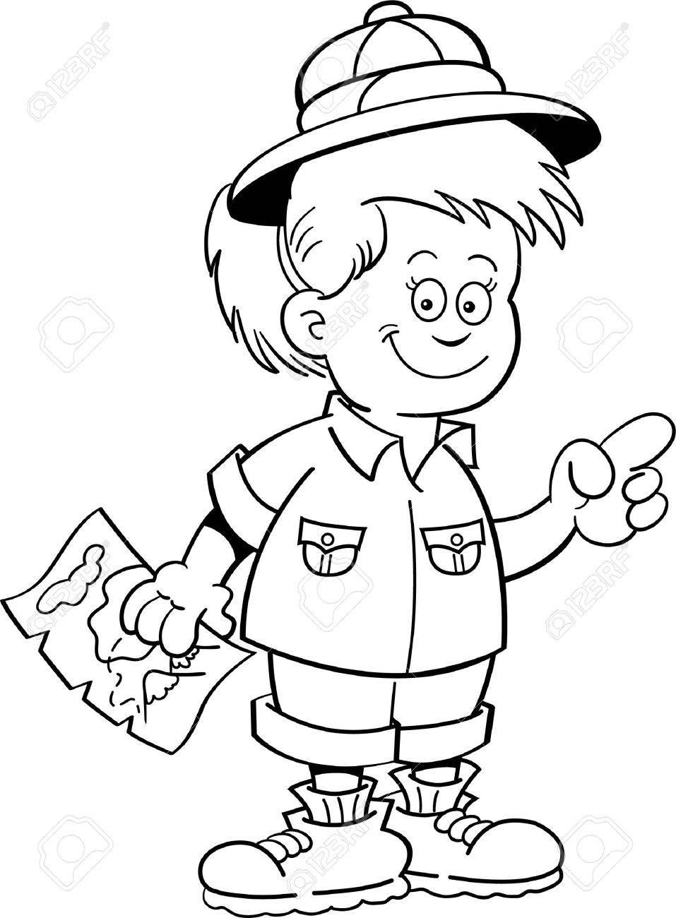 Ilustración En Blanco Y Negro De Un Explorador De La Muchacha Que ...