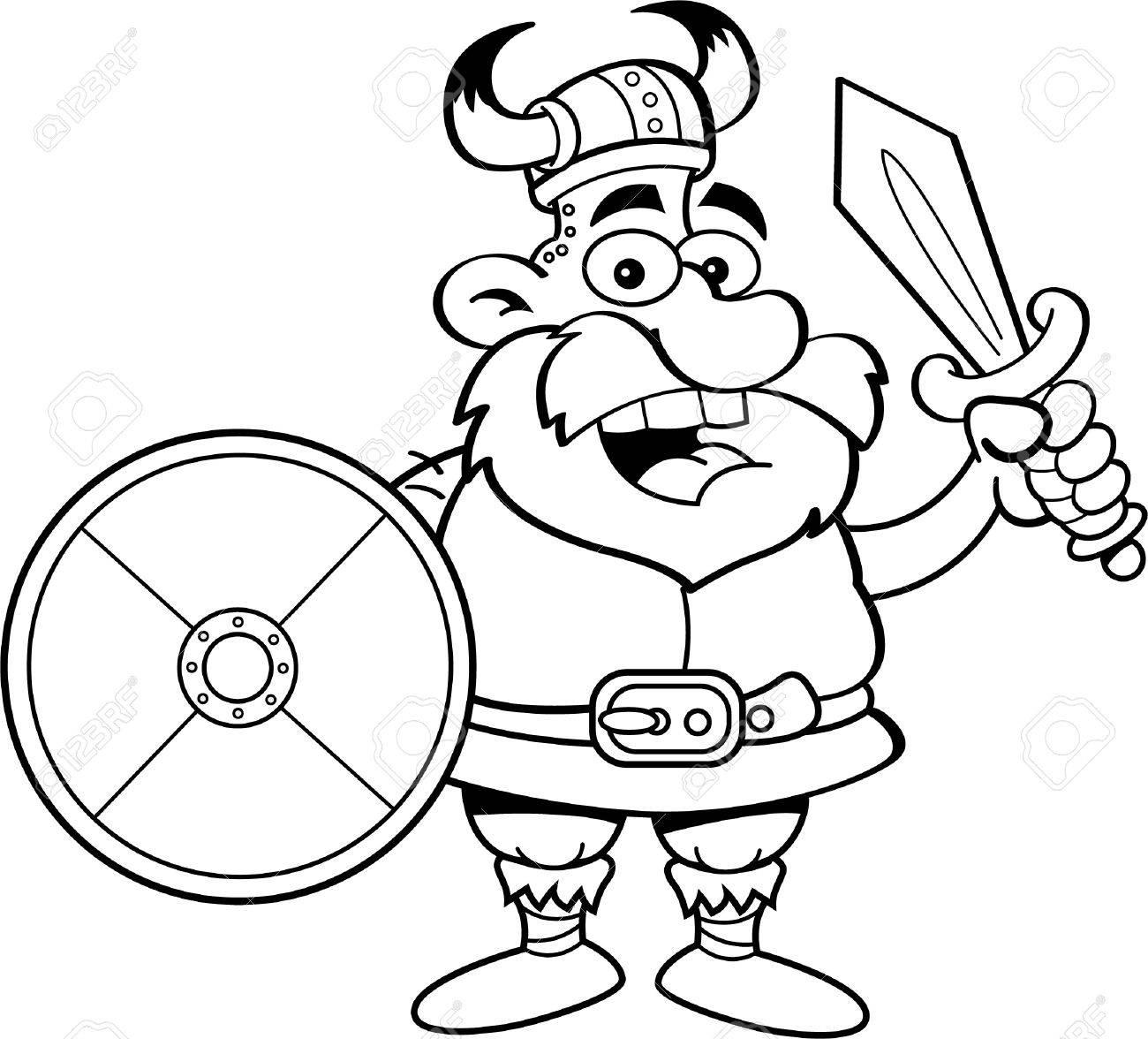 Ilustración En Blanco Y Negro De Un Vikingo Que Sostiene Un Escudo Y ...