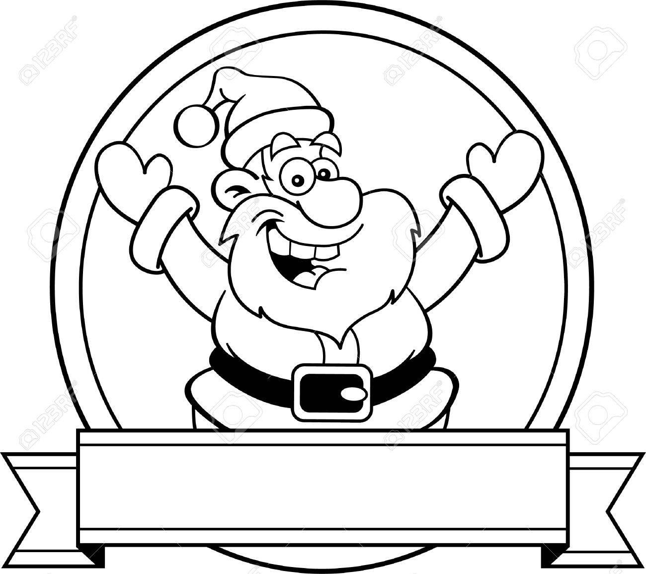 Illustration En Noir Et Blanc Du Père Noël Avec Une Bannière