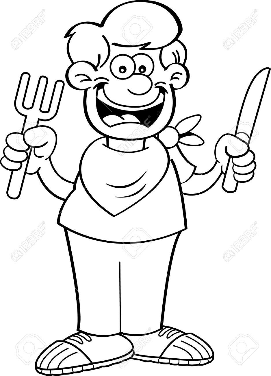 Ilustración En Blanco Y Negro De Un Niño De Hambre Con Un Cuchillo Y ...