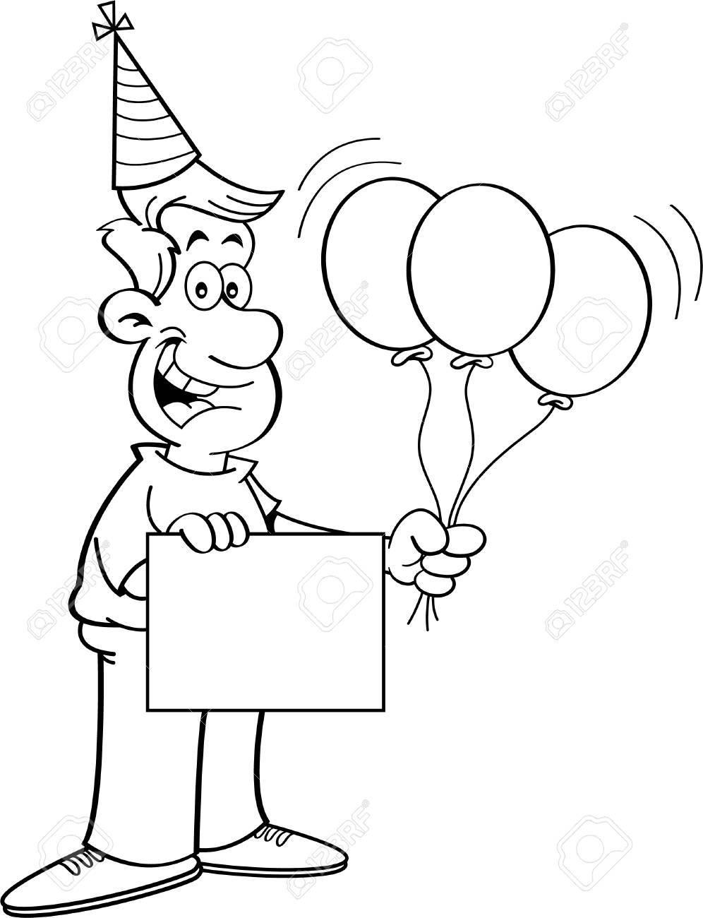 Schwarzweiss-Abbildung Eines Mannes Halten Ballons Und Ein Zeichen ...