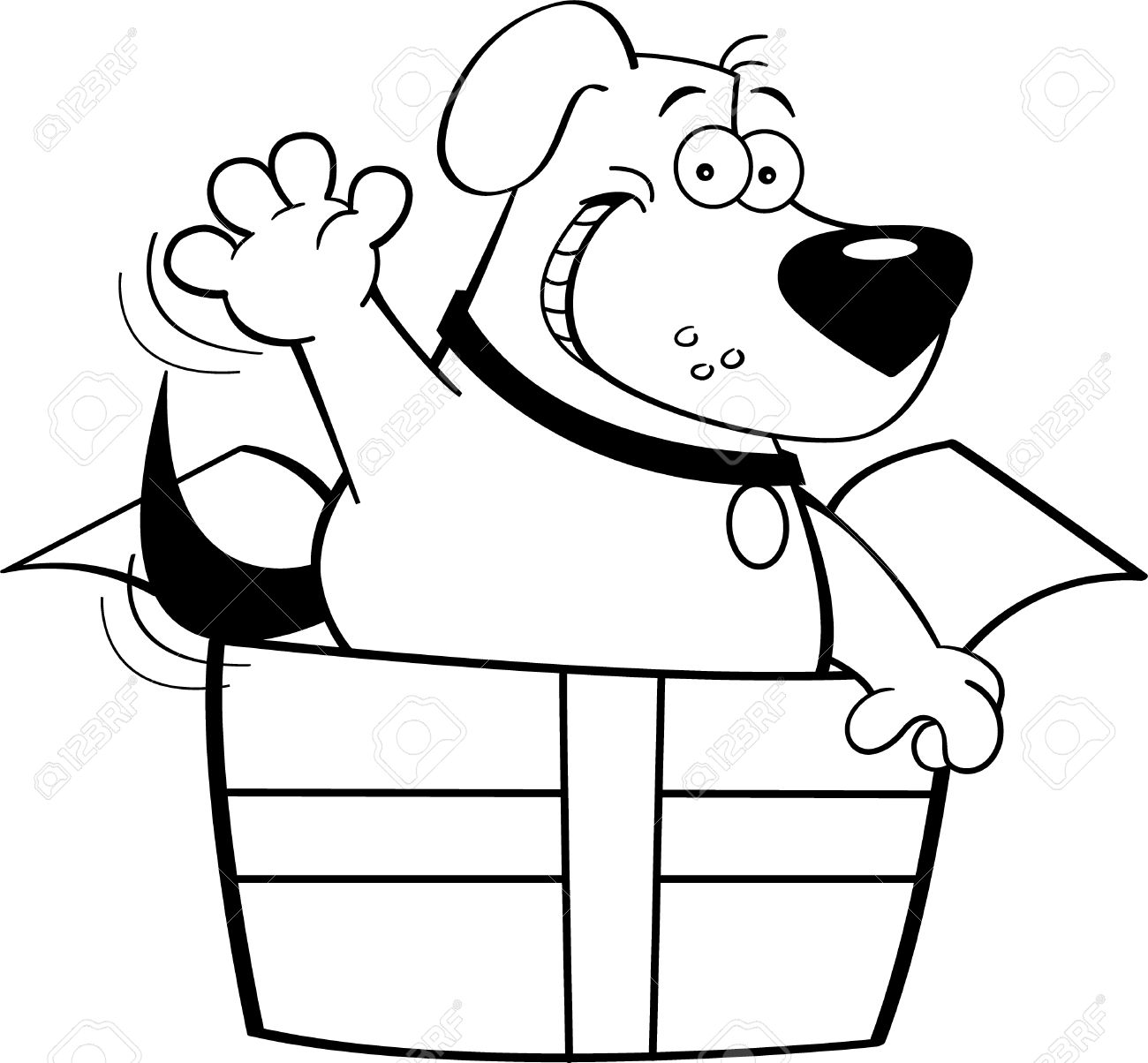 Black And White Illustration Of A Dog Inside A Gift Box Royalty