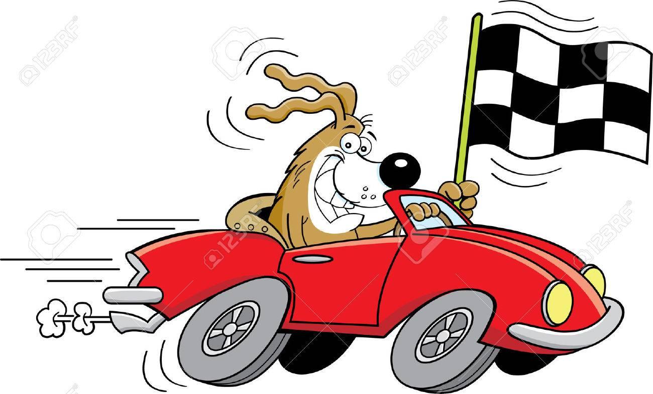 チェッカーフラッグを振ってスポーツ車で犬の漫画イラスト