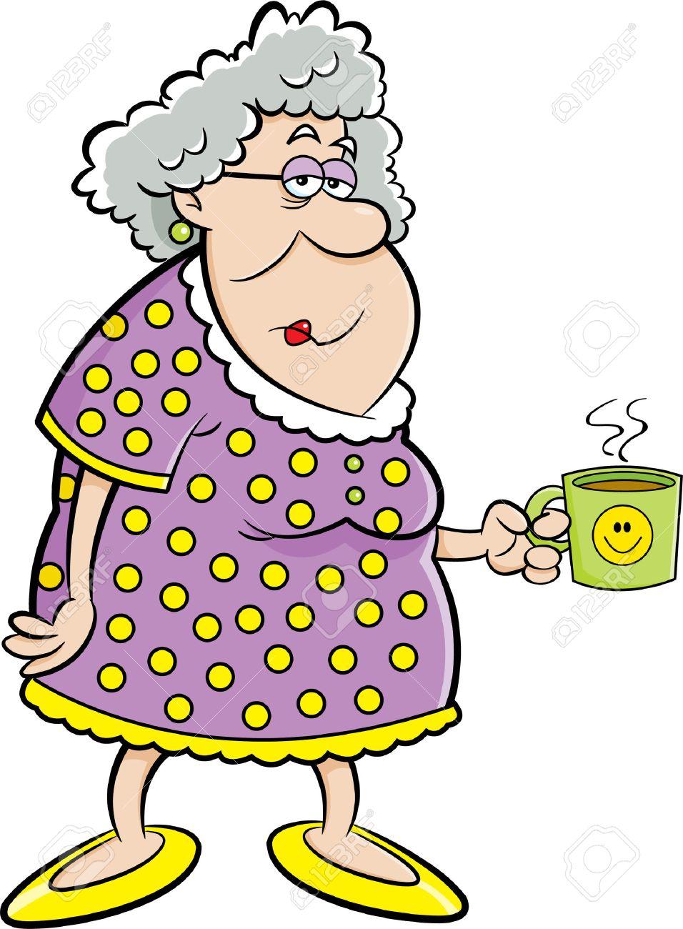 Cartoon illustration of an old lady holding a coffee mug. - 49801904