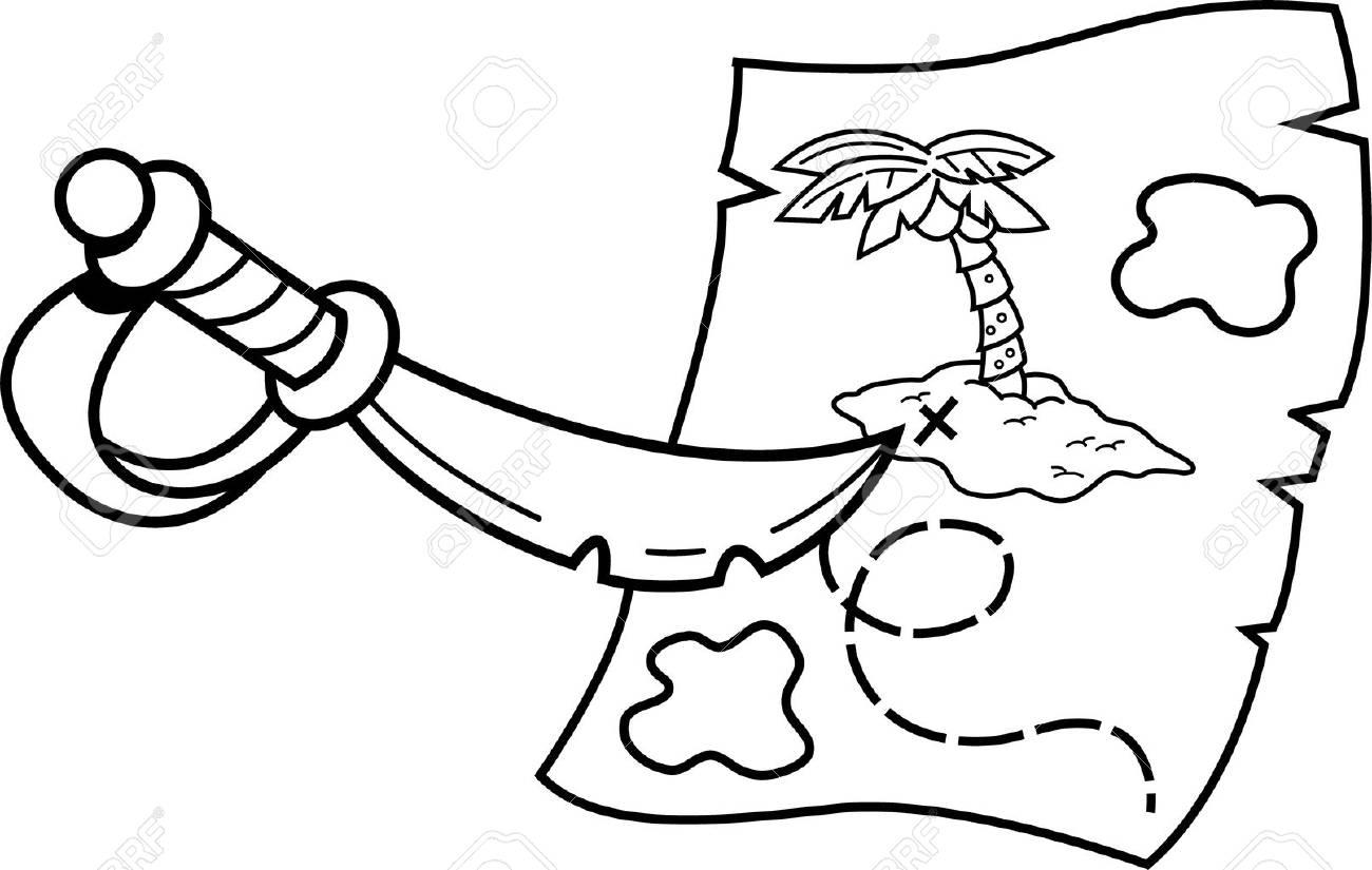 Carte Au Tresor Noir Et Blanc.Illustration En Noir Et Blanc D Une Epee Pointant Sur Une Carte Au Tresor