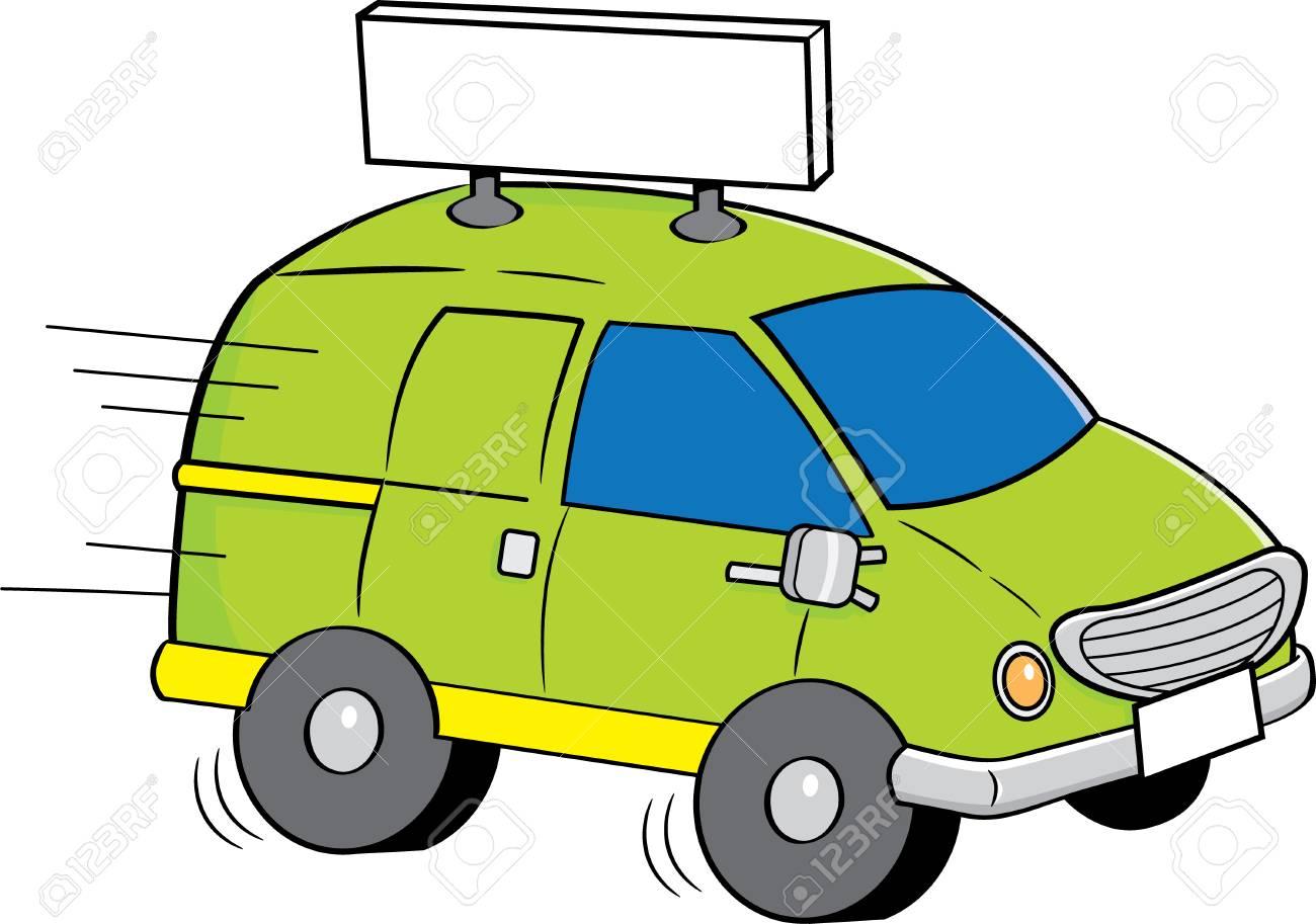 Illustration De Dessin Animé D Une Camionnette Avec Un Signe
