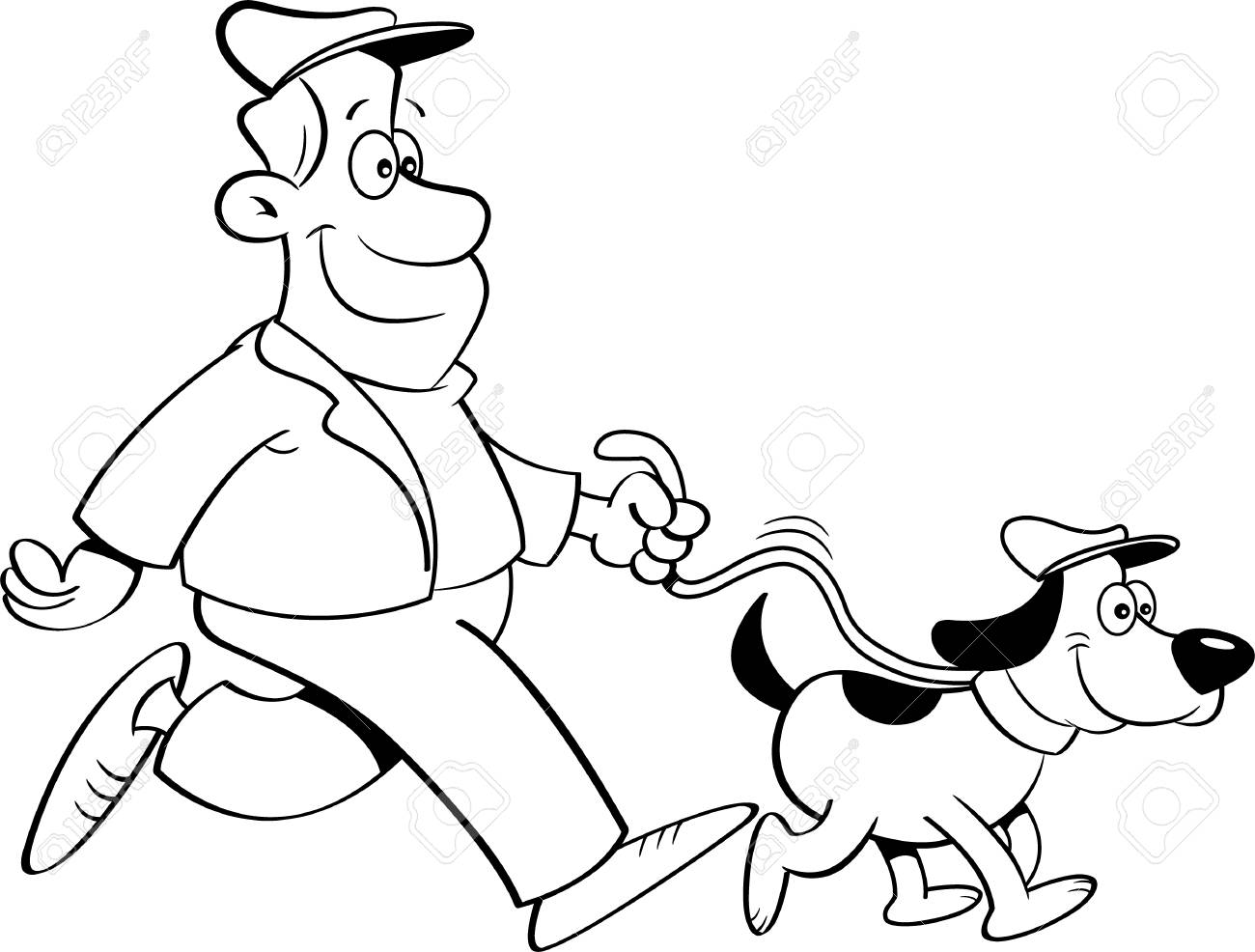 Black And White Illustration Of A Man Walking A Dog Royalty Free Cliparts Vectors And Stock Illustration Image 74611167