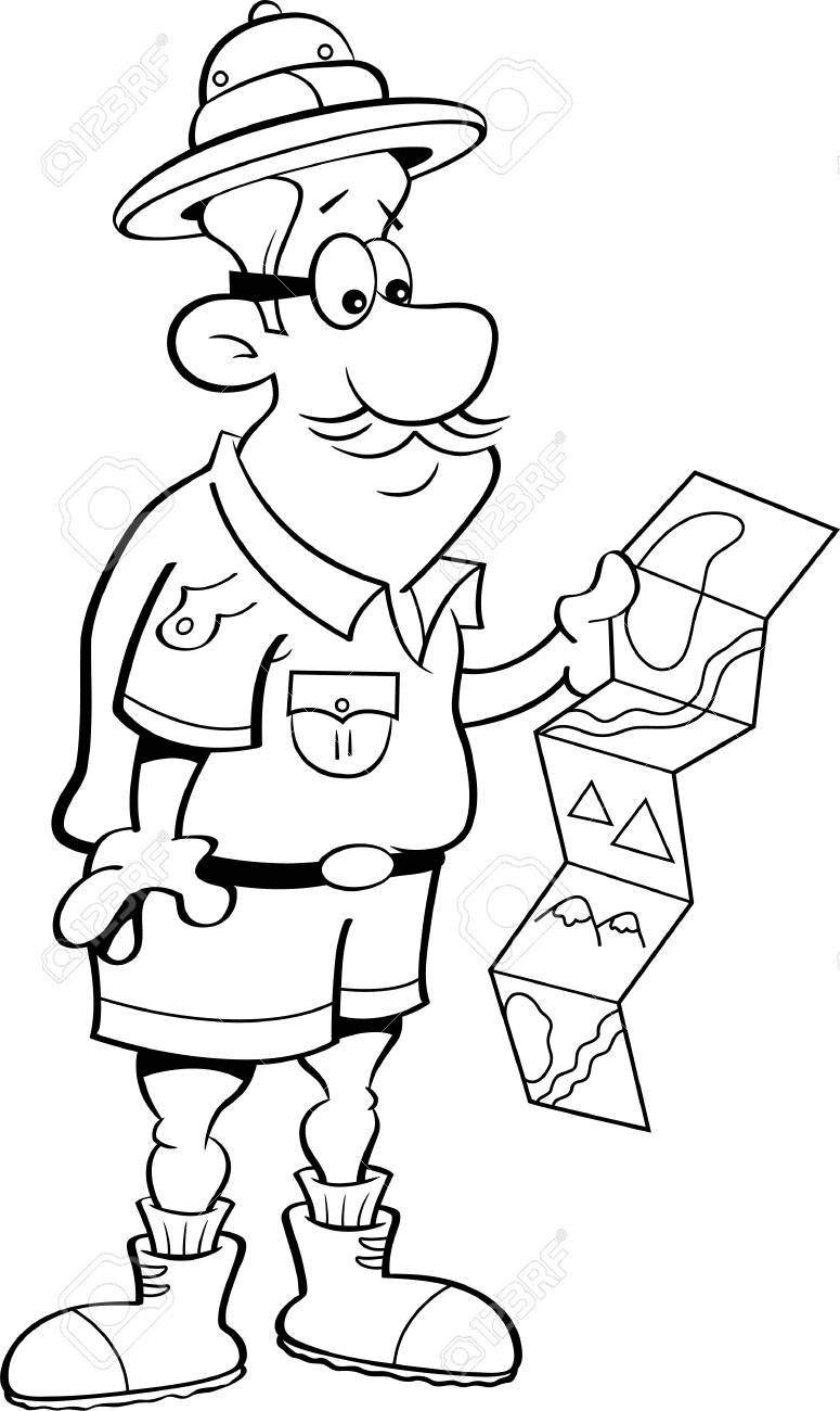 Ilustración En Blanco Y Negro De Un Explorador Mirando Un Mapa ...
