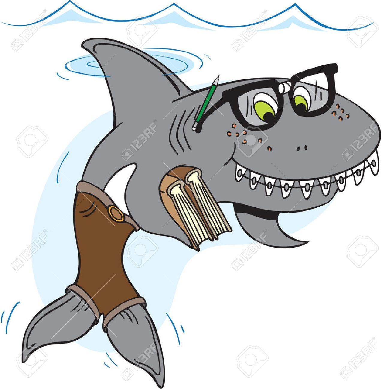 Nerd shark with glasses and braces carrying books - 33618299