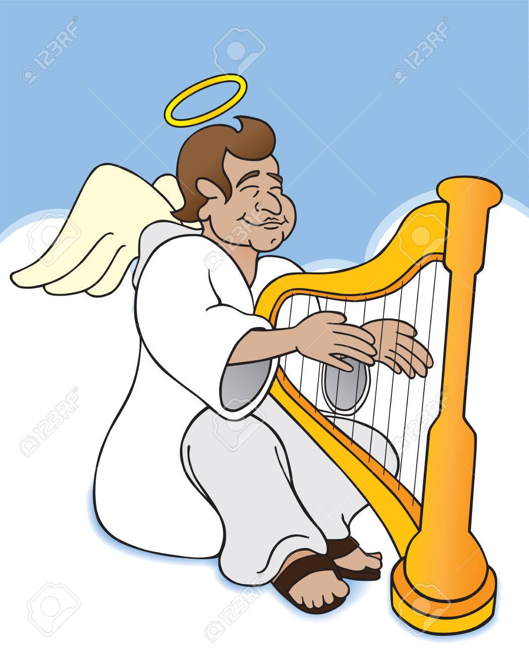 Angel sitting among the clouds in heaven strumming his harp - 33625621