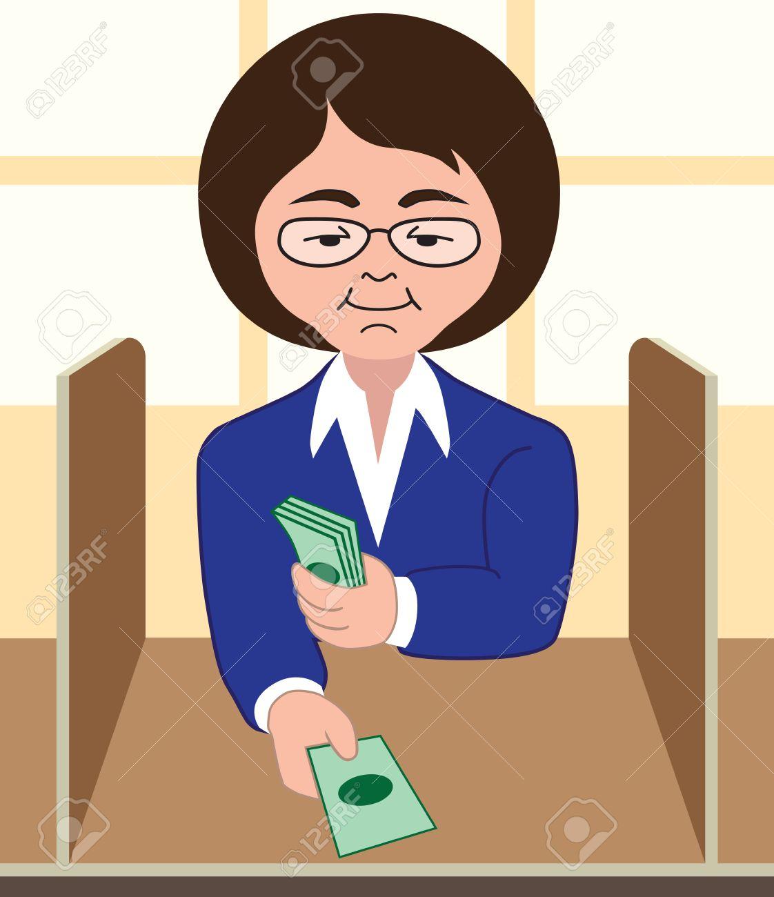 Female bank teller processing transaction - 33625642