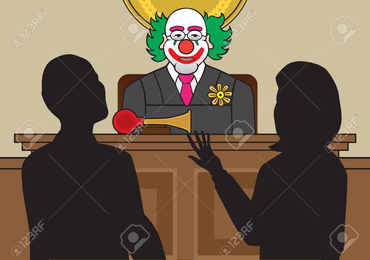 Clown judge listening to attorneys argue a case - 33679349