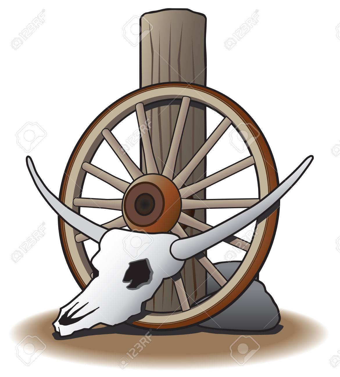 Steer skull leaning against wagon wheel which is leaning against post - 33986667