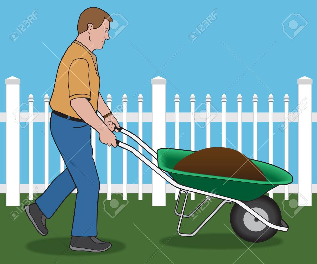 Man pushing wheelbarrow load of dirt through yard - 40205877