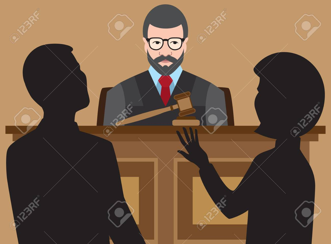 Judge is listening to two lawyers argue their cases - 55087912
